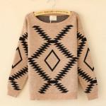 Khaki Vintage Diamond Round Neck Sweater