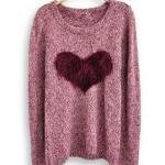 Wine Red Long Sleeve Love H..