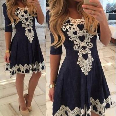 Women's Stylish 1/2 Sleeve Lace Splicing Round Neck A-Line Dress