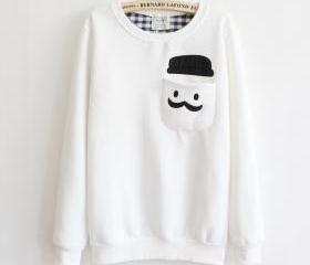 White Thickened Cashmere Doll Head Sweater