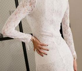 Irregular Hem Sexy Fringed Shrug Long Sleeve Lace Dress