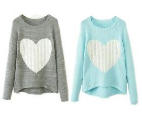 Women Heart Printed Jumper Knitwear Cardigan Coat Pullover Outwear Sweater Tops