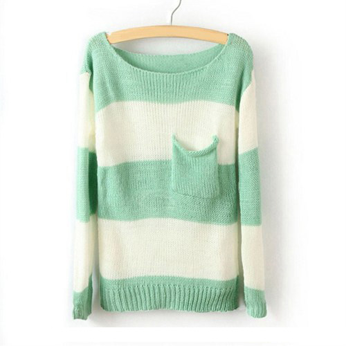 Green White Striped Pullover Long Sleeve Sweater