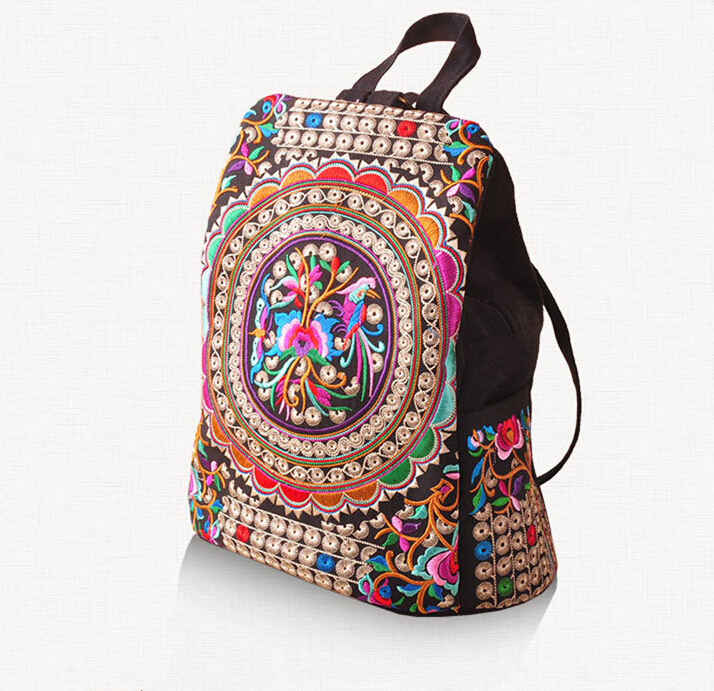 School bag embroidery - Canvas Embroidery Ethnic Backpack Women Handmade Flower Travel Bags Schoolbag