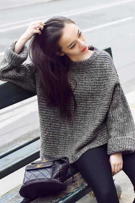 Grey Crew Neck Knitted Sweater Featuring Long Bat Sleeves