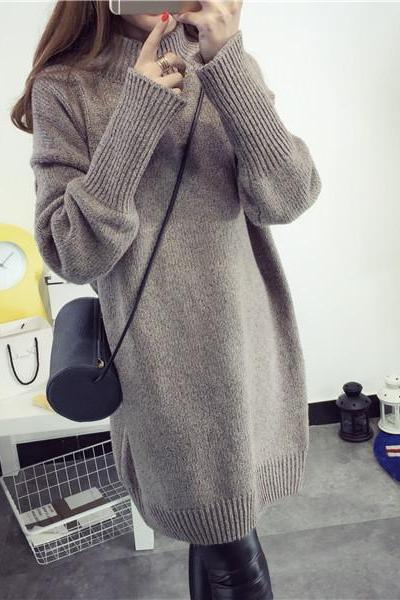 Women Fashion Half Turtleneck Medium Length Loose Thickening Pullover Sweater