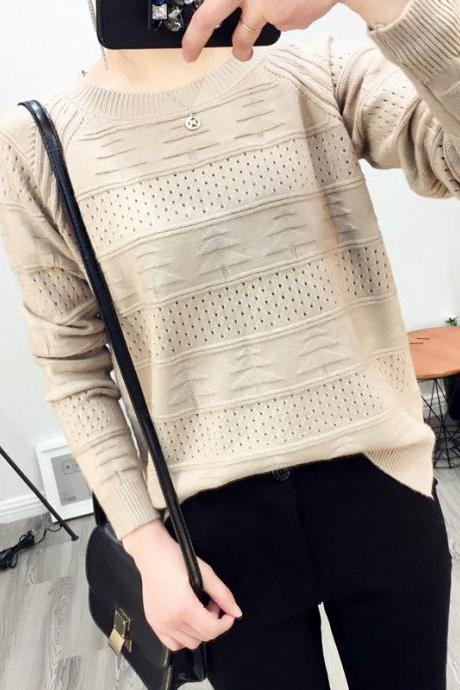 Korean Fashion Hollow Jacquard Bottoming Short Pullover Loose Sweaters For Girl Women
