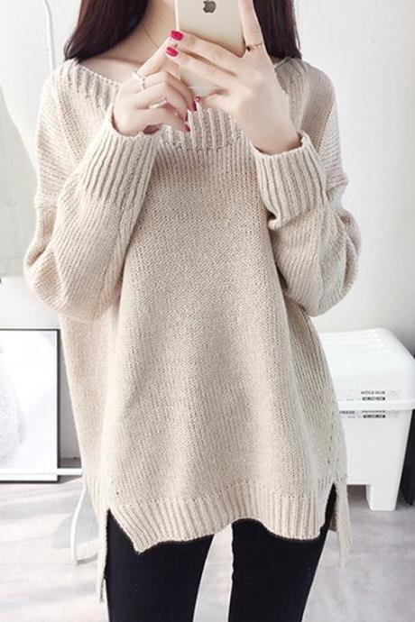 Korean Fashion Loose Round Neck Solid Color Long Aleeved Bottoming Knitting Irregular Sweater