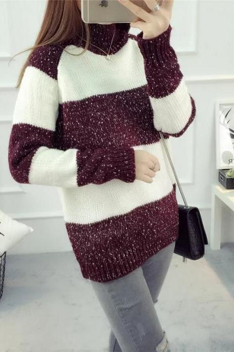 Women's Fashion Striped Long Sleeve Loose Pullover Sweater Tops