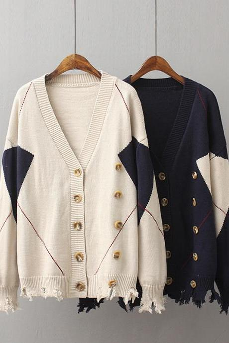 Women Fashion Geometric Color Hole Double Breasted Knit Cardigan Sweater Coat