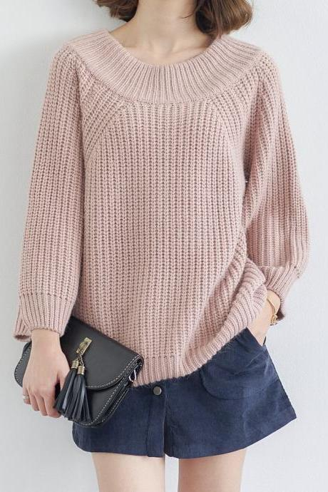 Women Fashion Solid Color Raglan Sleeved Loose Pullover Knitting Sweater
