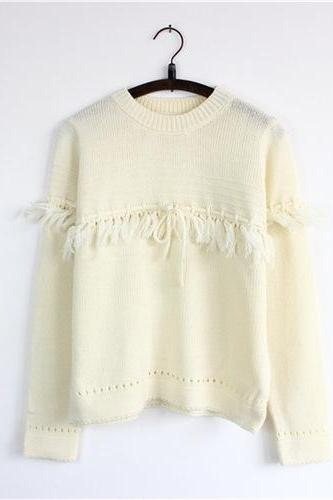 Women Fashion Hollow Fringed Bow Short Pullover Sweater