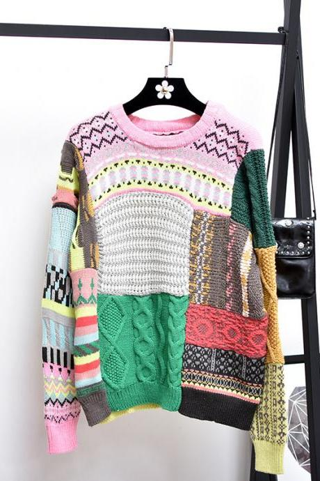 Women Fashion Twist Color Stitching Loose Pullover Short Sweater