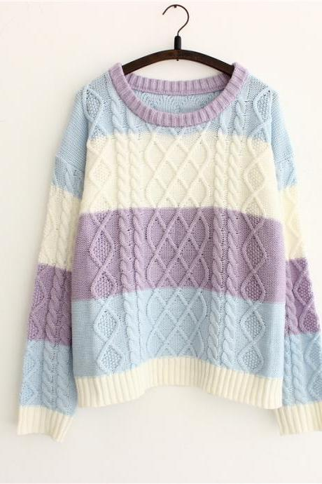 Women Fahshion Colorful Striped Twist Round Neck Small Fresh Loose Sweater