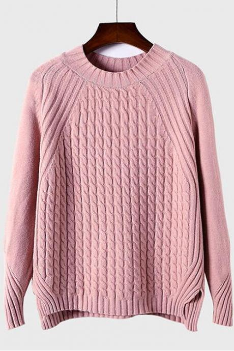 Women Knitted Long Sleeve Loose Split All-match Twist Pullover Sweater