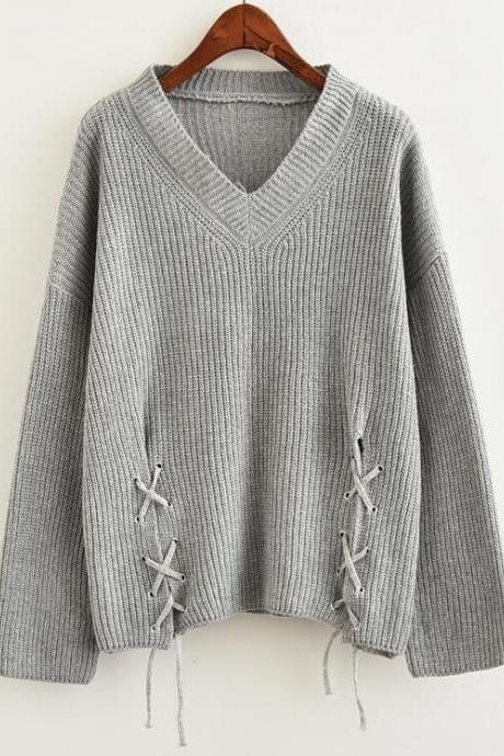 Women Fashion Solid Color V-neck Loose Tie Knitted Sweater