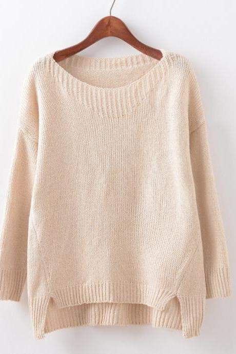 Women Fashion V Neck Side Vents Loose Thin Long Sleeve Knitted Pullover Sweater Coat