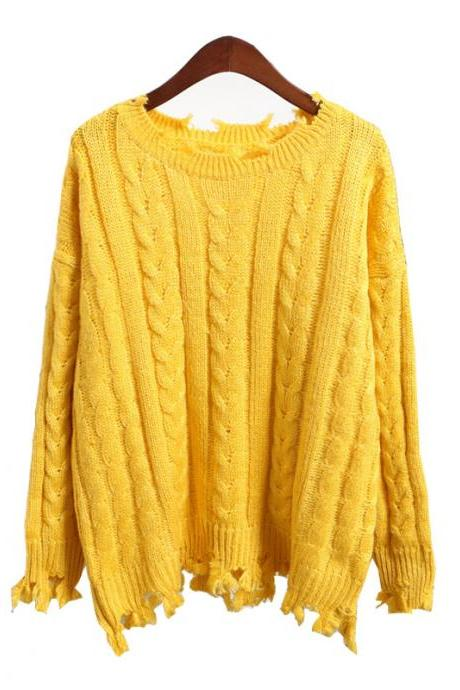 Round Neck Cable Knitted Sweater with Irregularly Ripped Hem