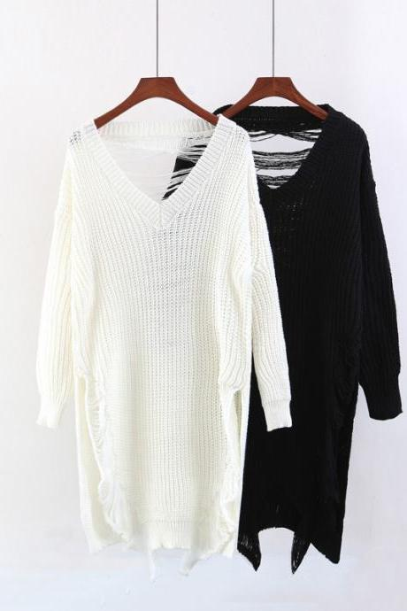 Women Fashion Leisure Back Broken Hole Deep V Neck Pullover Loose Sweater
