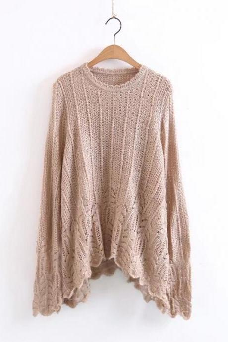 Women Fashion Temperament Hollow Knitting Loose Pullover Sweater