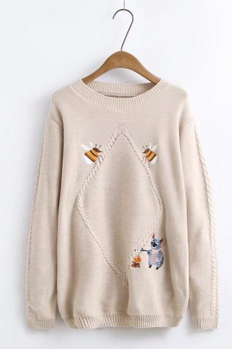 Women Fashion Embroidery Koala Bee Sweet Knitting Loose Pullover Sweater