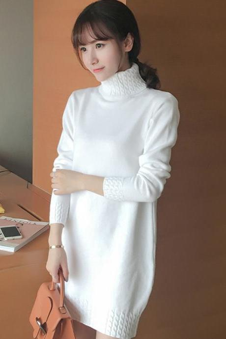 Women Fashion Long Solid Color Twist Knitted Thickening Turtleneck Sweater