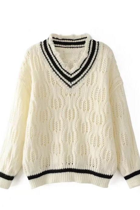 Women Fashion V-neck College Style Hollow Loose Pullover Sweater Tops