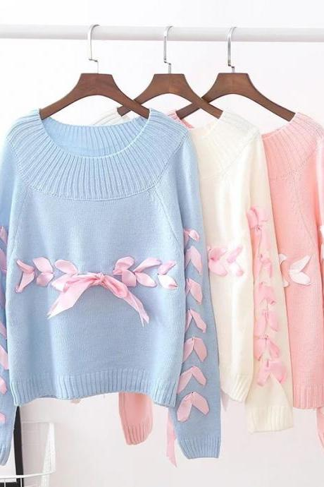Women Fashion Bow Tie Bandage Round Neck Long Sleeves Knitted Loose Pullover Sweater