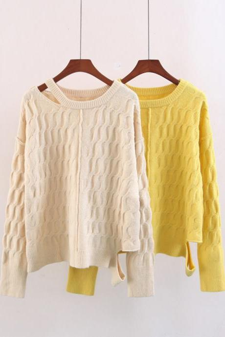 Women Fashion Collar Hem Open Twist Bat Sleeve Knit Sweater