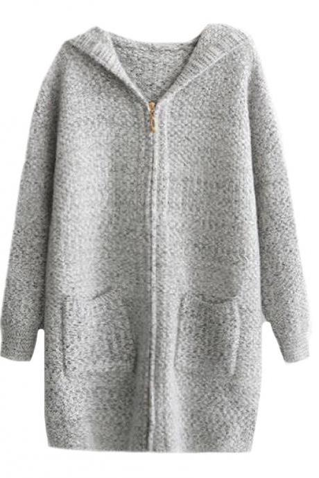 Women Hooded Mid Long Pocket Baggy Style Full-Zip Knit Cardigan