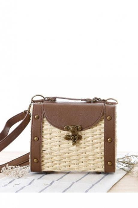 Baroque Style Retro Rivet Portable Small Box Woven Shoulder Messenger Bag