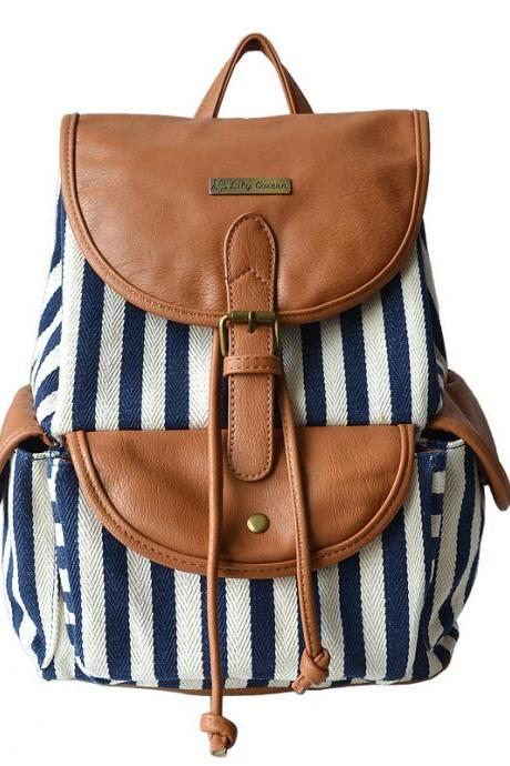 Women's Fashion Floral School College Rucksack Bag Daypacks Striped Backpack