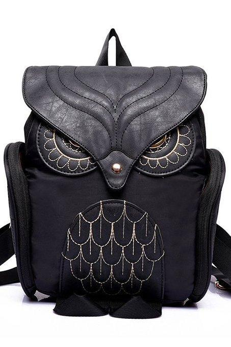 Women Cute 3D Owl Leather Backpack Cartoon Bag Casual College Bags Hiking Daypack