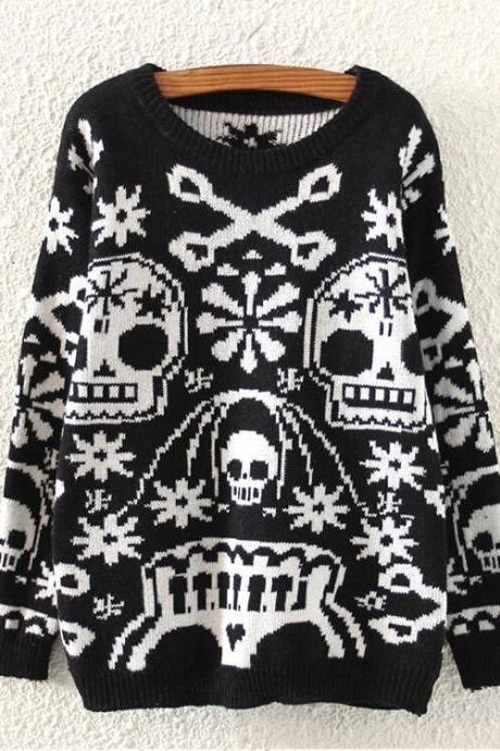 Women's Fashion Street Skull Personality Round Neck Pullover Sweater
