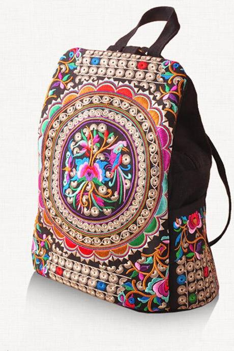 Canvas Embroidery Ethnic Backpack Women Handmade Flower Travel Bags Schoolbag