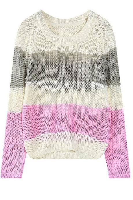 Harajuku Style Loose Long-Sleeved Three-color Striped Sweater