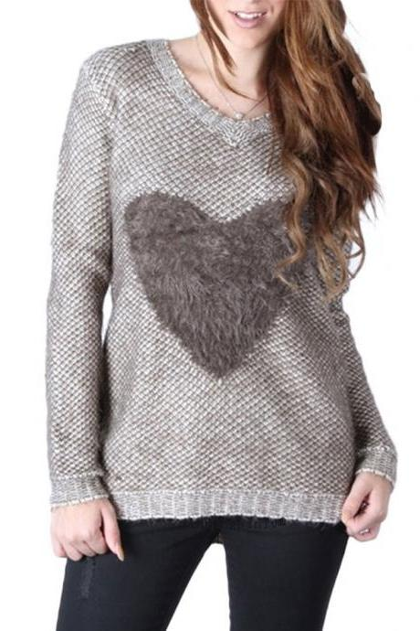 V-Neck Knitted Sweater / Pullover Featuring Faux Fur Heart Shape
