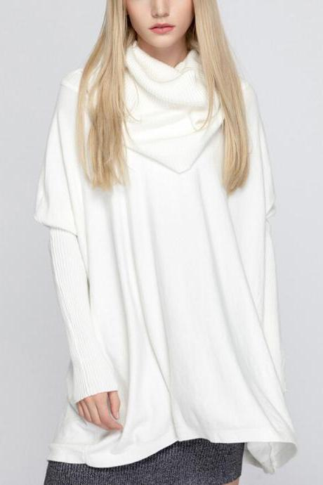 Women's Fashion Bat Sleeve Long-sleeved Pullover Loose Turtleneck Sweater