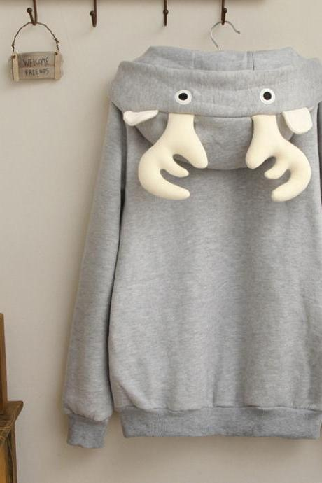 Cute Antlers Long Sleeve Fleece Warm Pullovers Hooded Sweatshirt