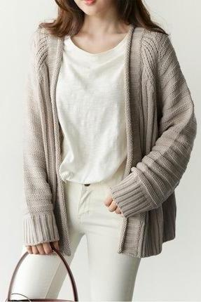 Women's Fashion Tread Pattern Loose Knit Cardigan