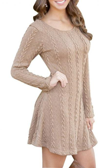 Cable Knit Scoop Neck Long Sleeves Short Skater Sweater Dress