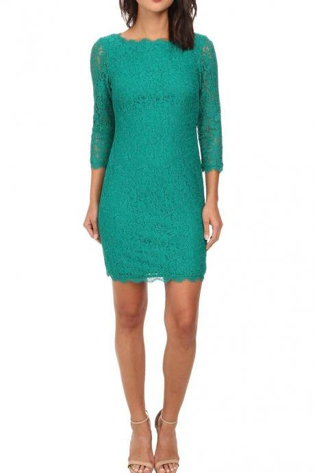 Womens Zip Back V-neck Full Lace 3/4 Sleeve Slim Cocktail Dress