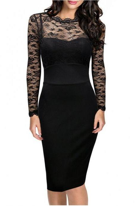 Women's Back V Neck Long Sleeve Sexy Black Lace Slim Bodycon Pencil Party Dress