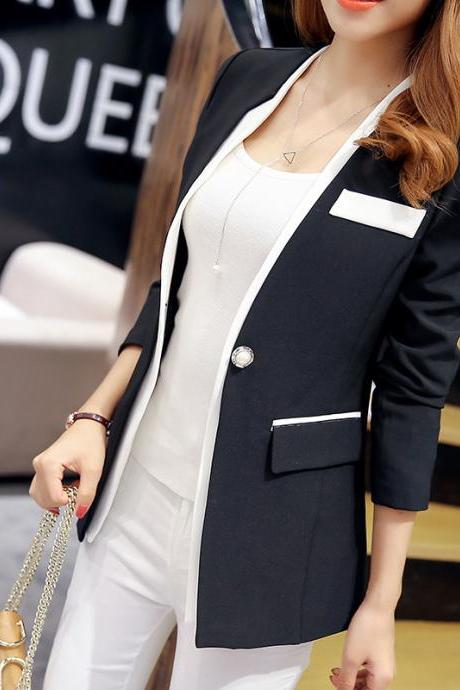 Women's Fashion Solid Color One Button Stitching Wild Slim Suit Blazer