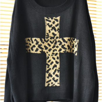 Leopard Cross Loose Pullover Sweater