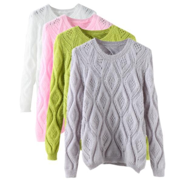 Sweet Diamond Lattice Back Hollow Long-sleeved Round Neck Pullover Sweater