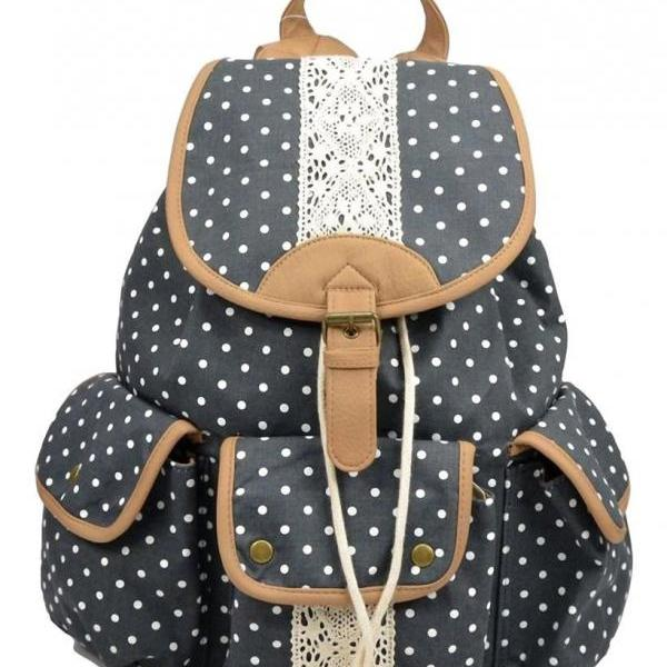 Polka Dot Lace Canvas PU leather Backpack Rucksack for School/ Travel/Daily